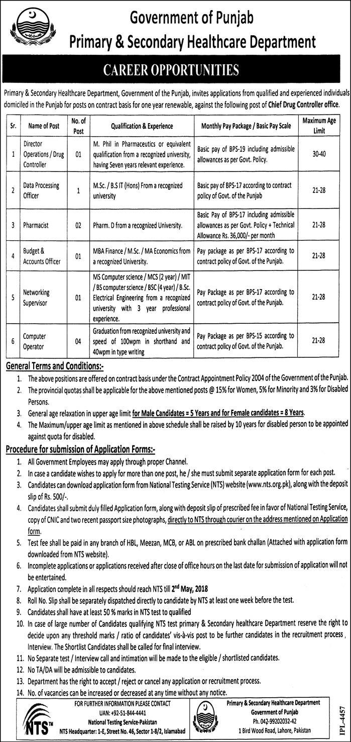 Jobs in Primary and Secondary Healthcare Department Daily Express Newspaper 10 April 2018