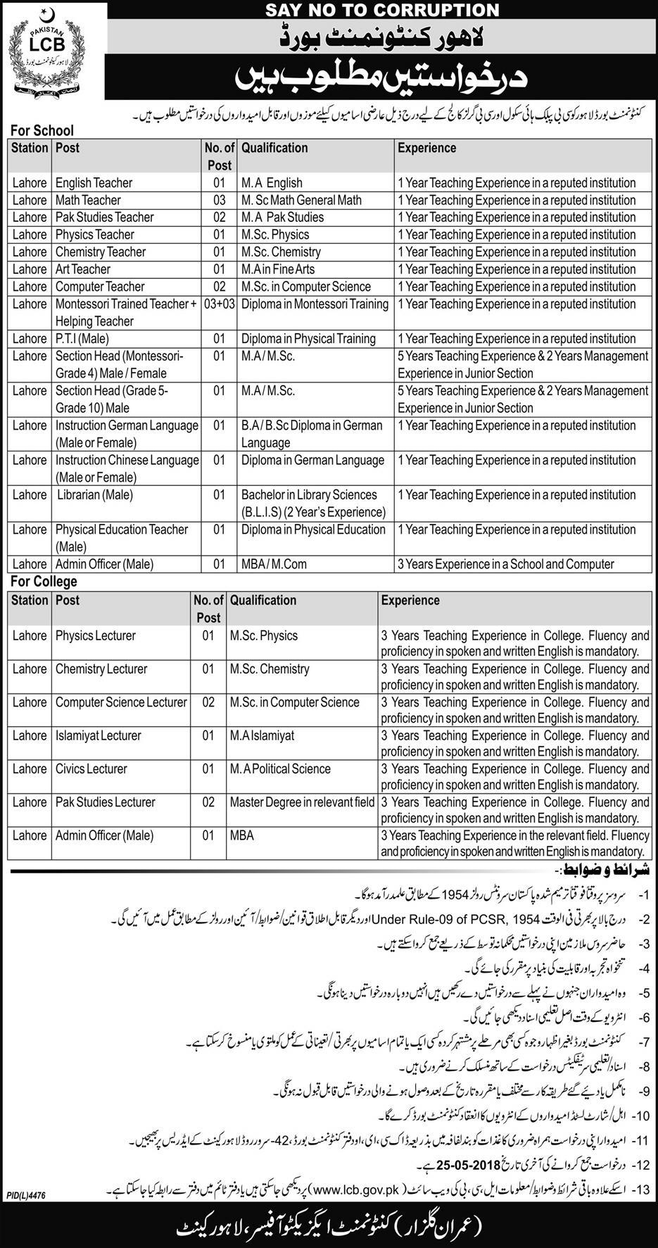 Express Newspaper Cantonment Board Lahore Jobs 10 May 2018