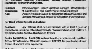 Summit Bank new Jobs 2018 Tellers, Branch Managers, Law, Audit for All Pakistan