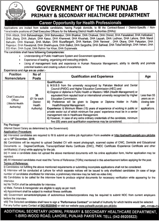 Punjab Jobs Primary & Secondary Healthcare 27 November 2018