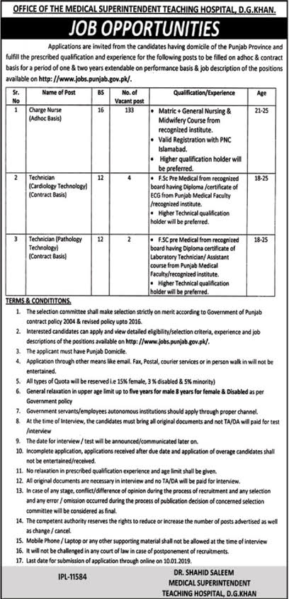 Dera Ghazi Khan Jobs 17 December 2018 Charge Nurse Nawaiwaqt Newspaper