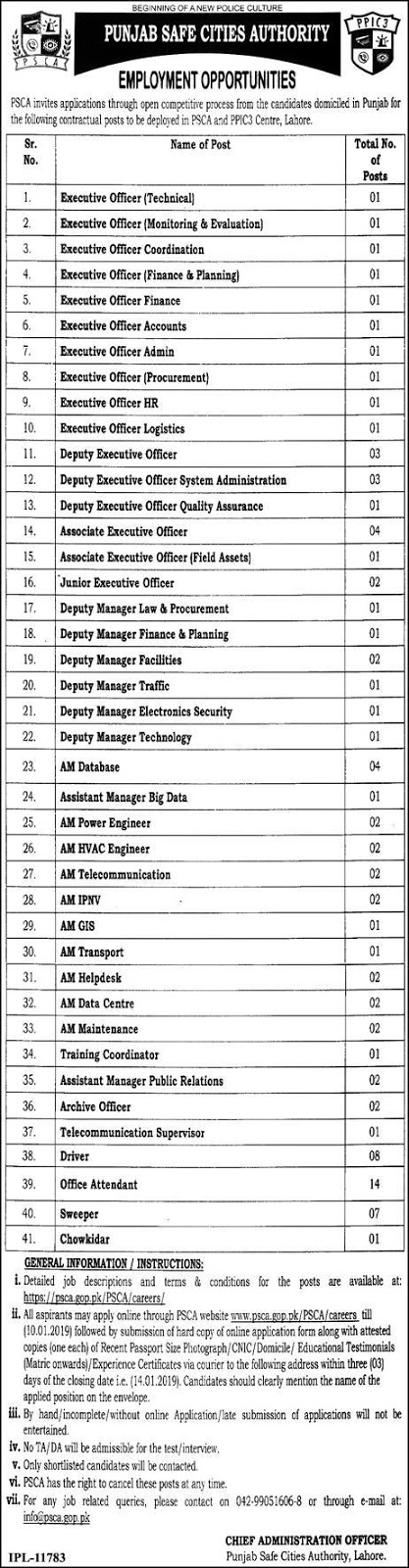 PSCA Jobs 26 December 2018 Punjab Safe Cities Authority