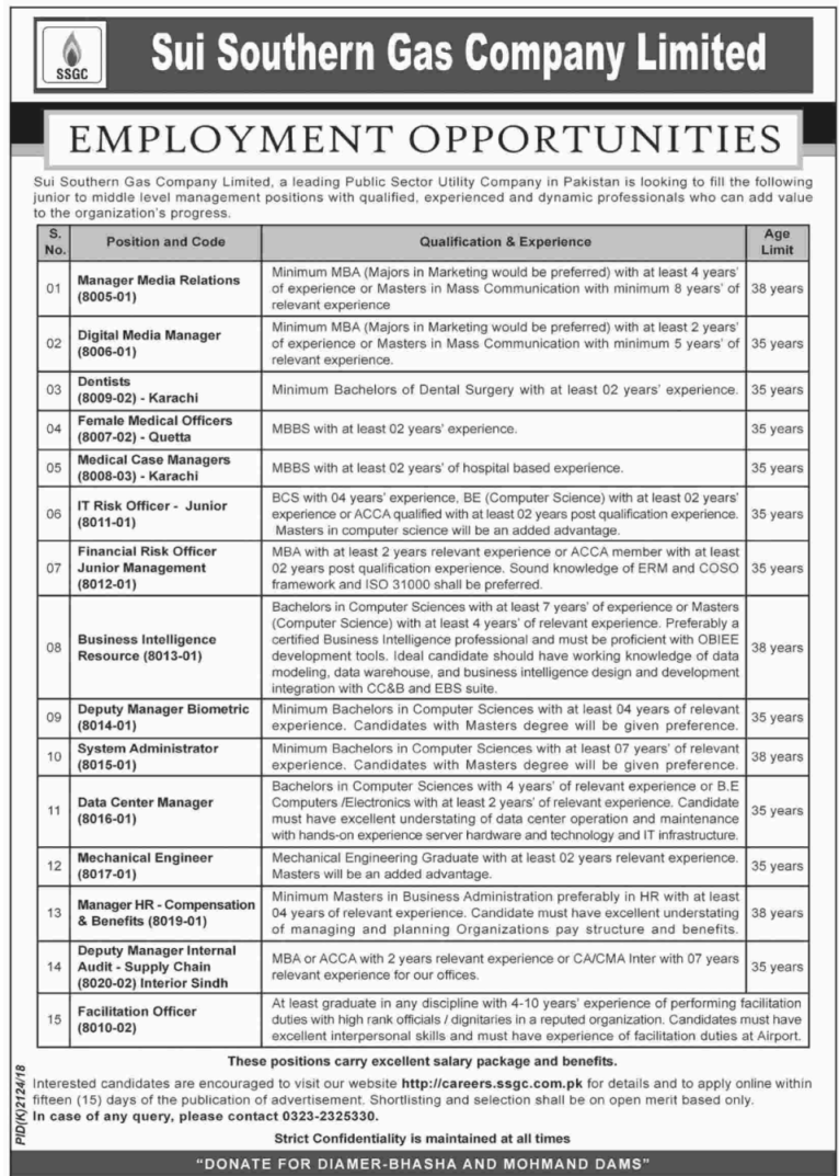Sui Southern Gas Company Limited SSGCL Jobs 04 December 2018
