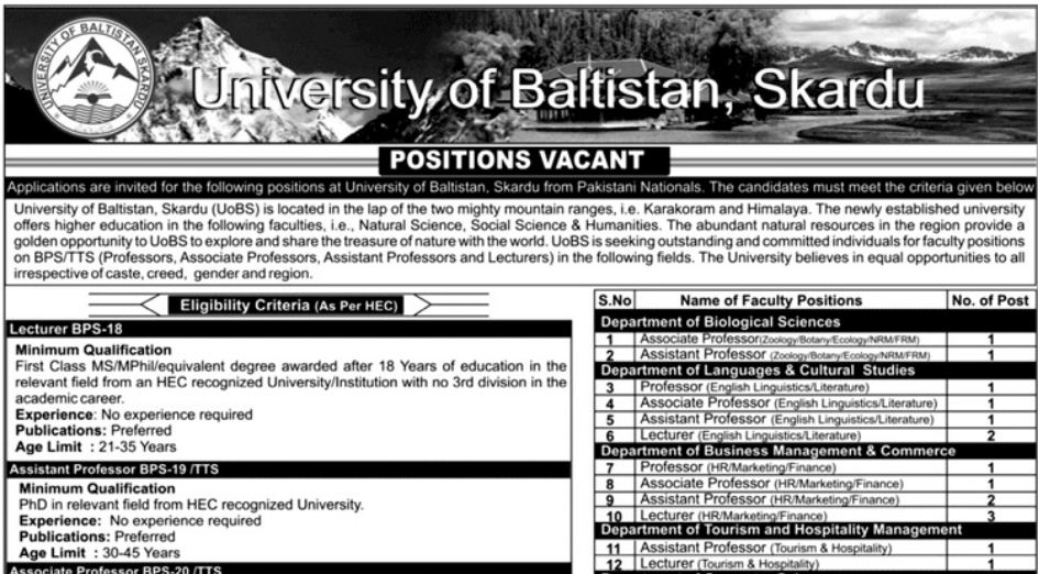 University of Baltistan, Skardu Teaching Jobs 16 December 2018