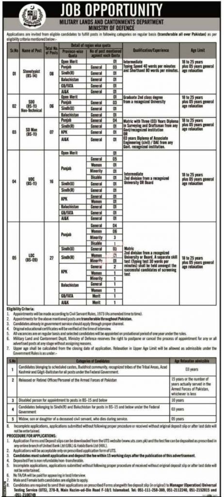 Ministry of Defence Jobs 2020 April Advertisement UTS Application www.mod.gov.pk