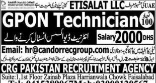 GPON Technician Jobs (UAE)