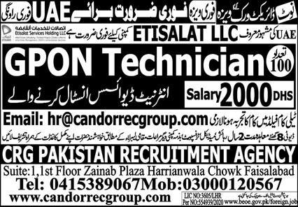 GPON Technician Jobs (UAE)