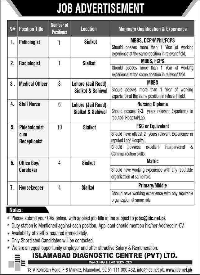 Diagnostic Center Jobs 2020 Islamabad
