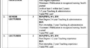 Bahawalpur College of Nursing Assistant Professor, Lecturer, Supervisor Jobs February