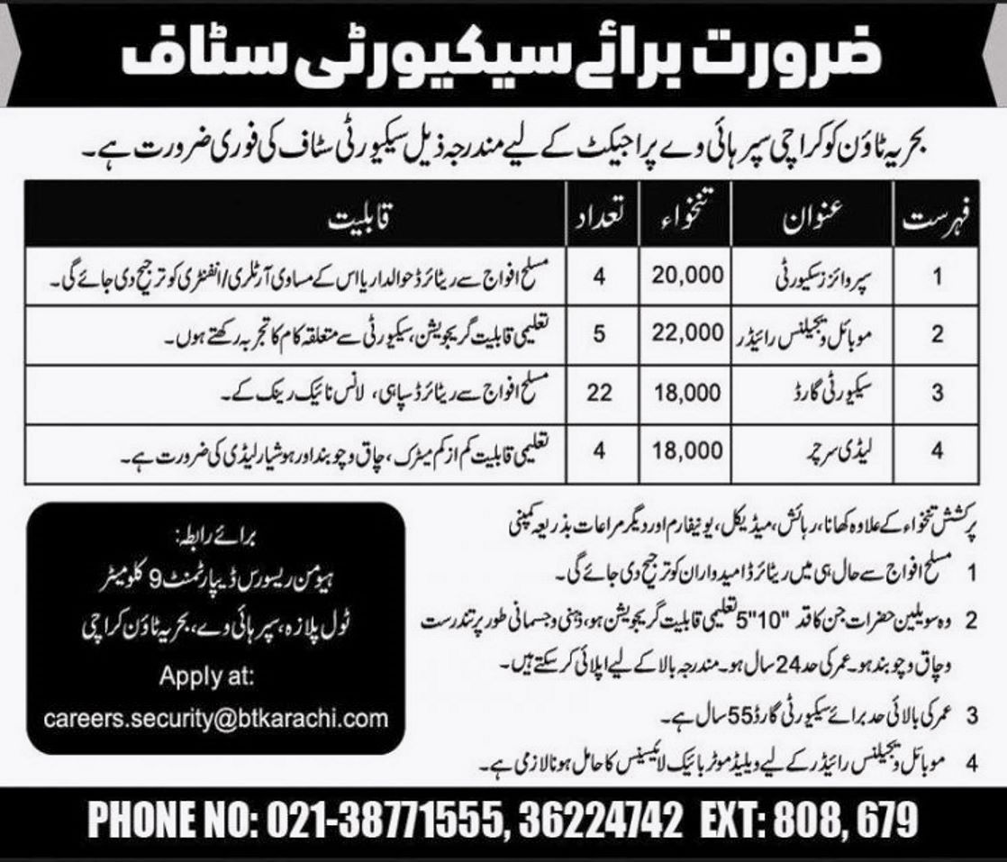 Bahria Town Karachi Super Highway Project Jobs 2021