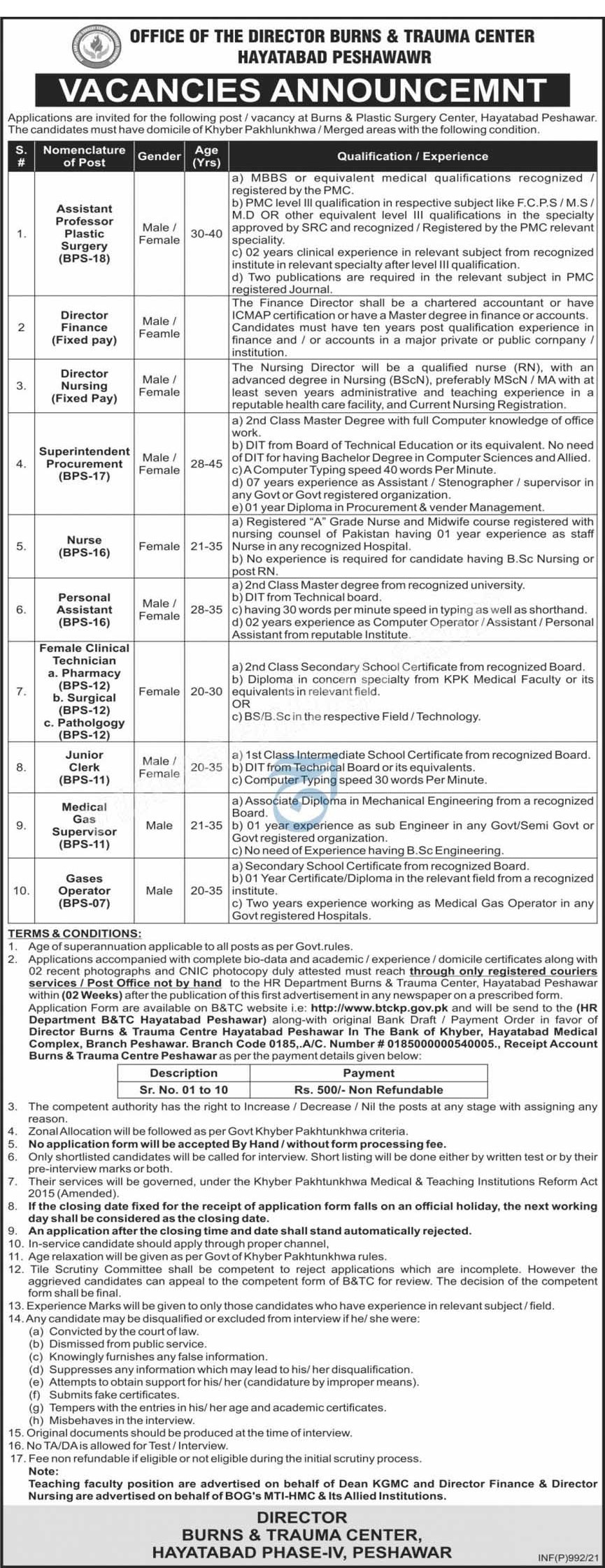 Burns & Trauma Center Hayatabad Peshawar Jobs Feb 2021