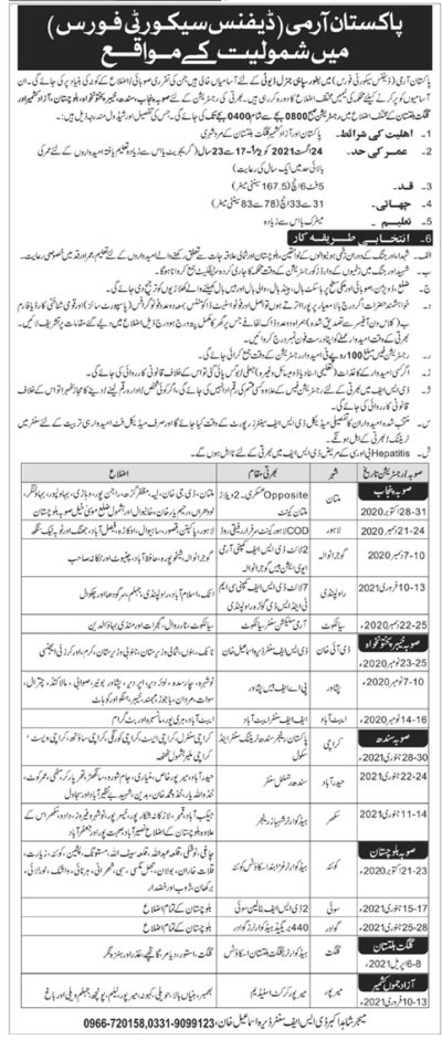 Pak Army Defence Security Force Jobs 2021 Sipahi General Duty (GD Sepoy)