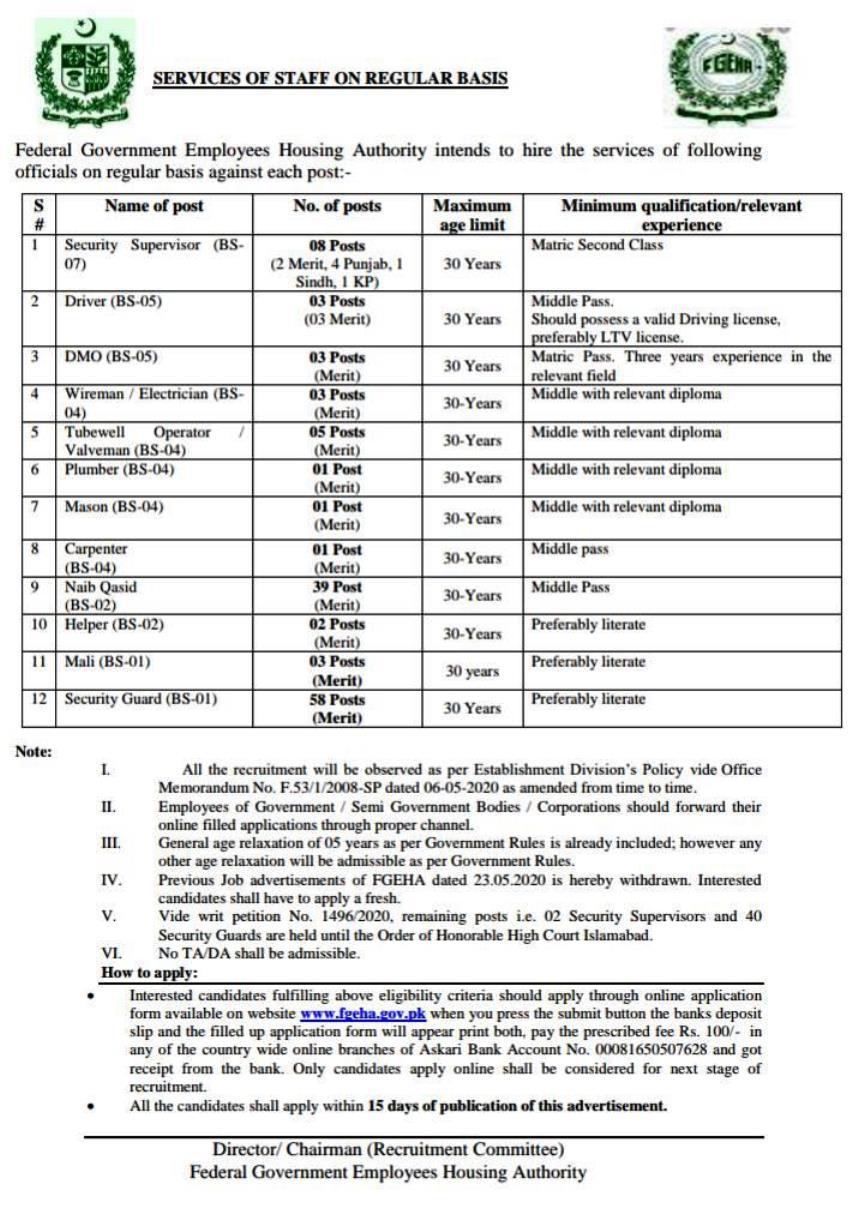 FGEHA jobs 2021 written test Roll no slip & Syllabus Download (2)