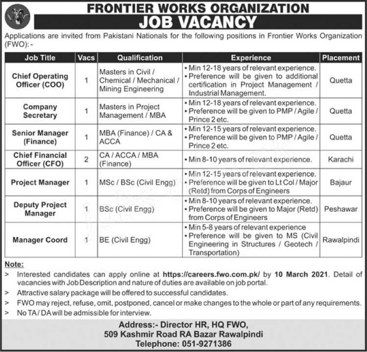 Frontier Works Organization (FWO) latest Jobs 2021 COO/CFO & other Managers