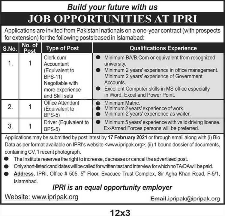 IPRI Islamabad Clerk  Accountant, Driver and Office Attendant Jobs 2021 apply online