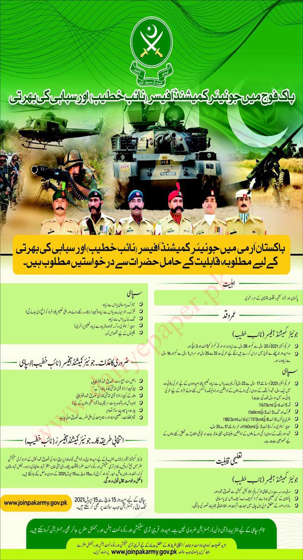 Join Pakistan Army Junior Commissioned Officer, Soldier & Naib Khateeb 2021