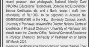 National Centre of Excellence in Physics Chemistry University of Peshawar Jobs 2021