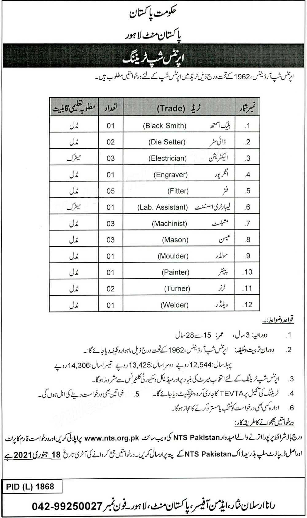 Pakistan Mint Lahore Apprenticeship Training Program NTS Application Form 2021