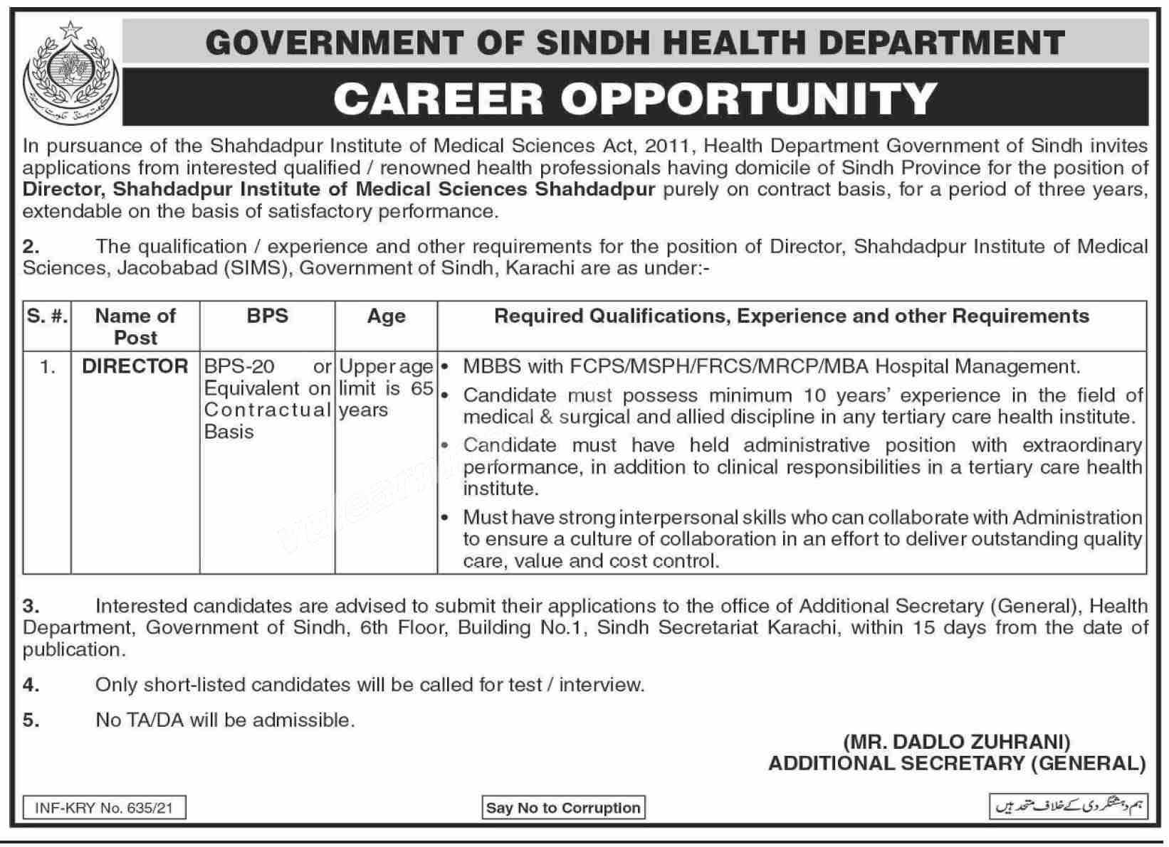 Sindh Government Health Department Shahdadpur February Jobs 2021
