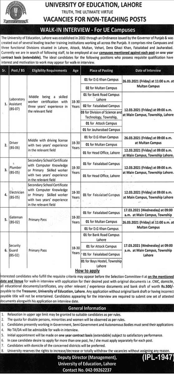 University of Education UE Lahore Jobs 2021 Advertisement