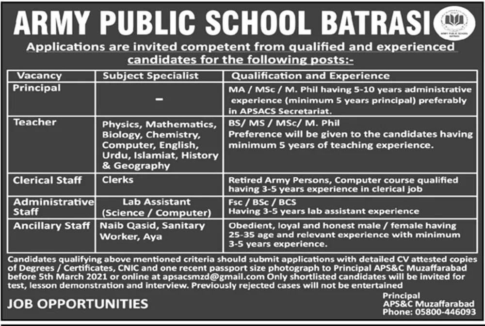 Army Public Schools & Colleges (APSC) Batrasi Jobs March 2021 Muzaffarabad
