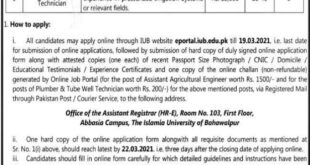Islamia University of Bahawalpur Jobs 2021 for Assistant Agriculture Engineer, Plumber