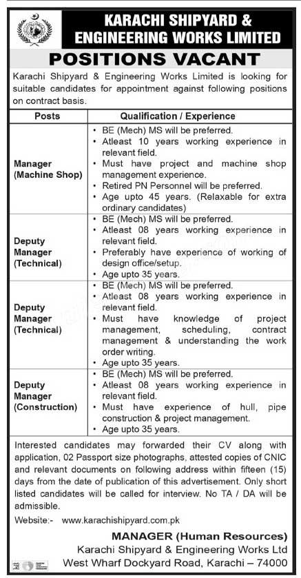 Karachi Shipyard & Engineering Works Limited Jobs 2021
