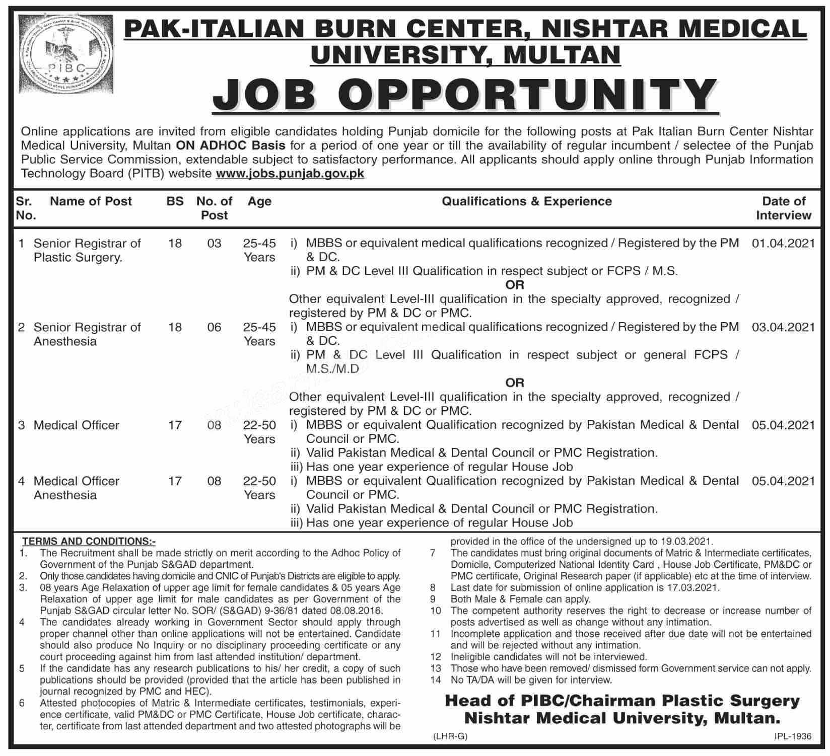 Nishtar Medical University Multan for Teacher Manager, Aya, Ward Boy Jobs 2021