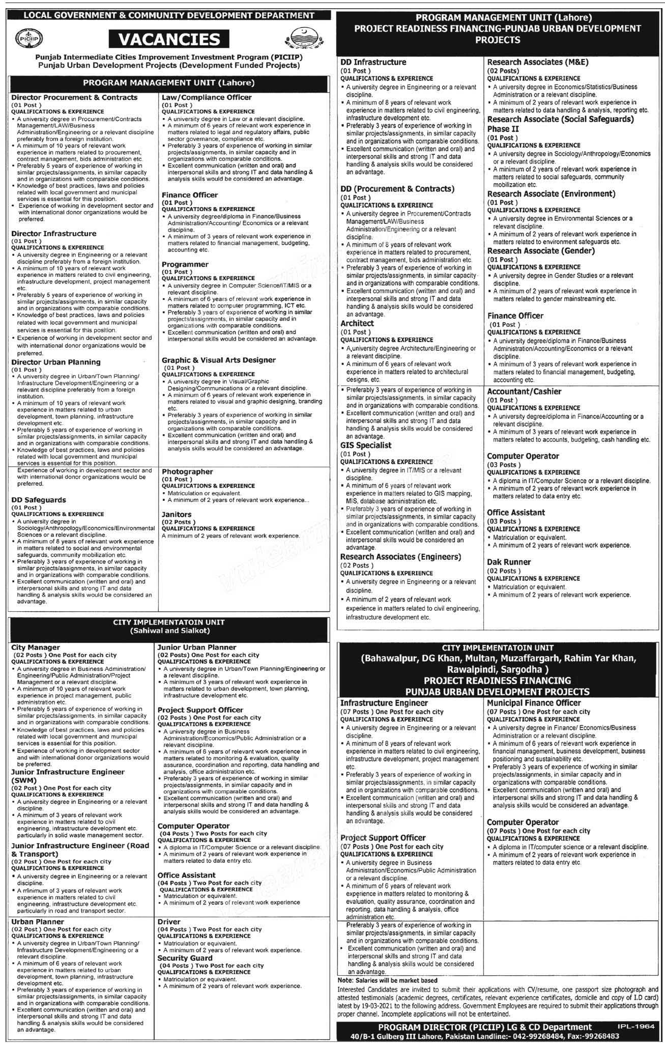 PICIIPLahore Directors, Research Associates, Finance Officers, Computer Operators, Engineers, Drivers, Office Assistants, Project Support Officers Jobs march 2021