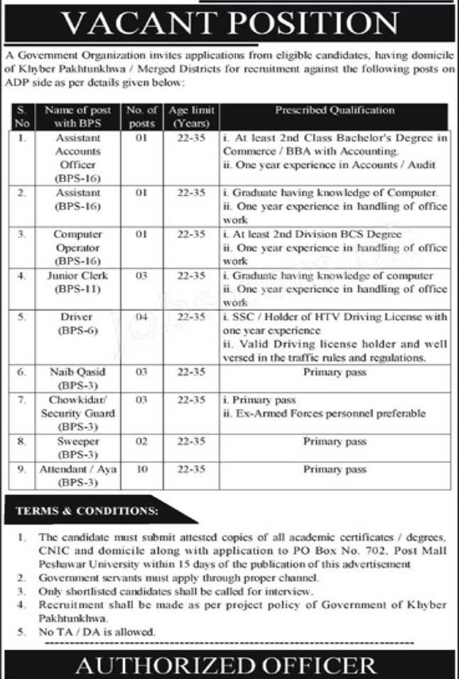 PO Box 702 KP Public Sector Organization Jobs 2021 March