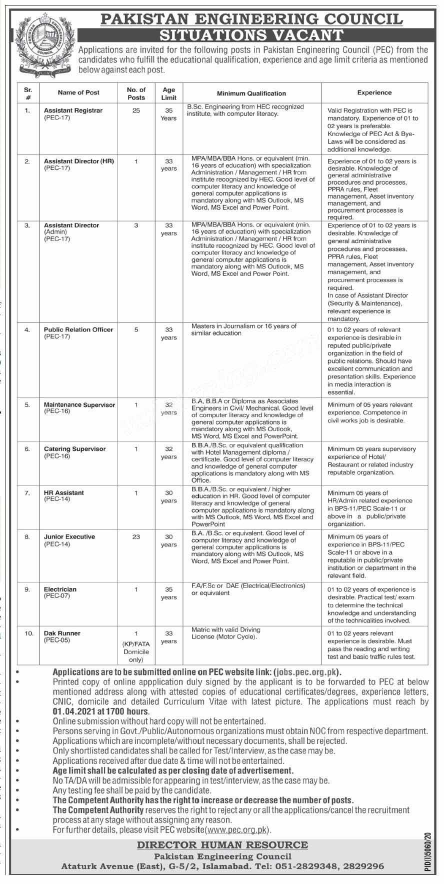 Pakistan Engineering Council Islamabad Assistant Registrar, PRO, junior executive Jobs March 2021
