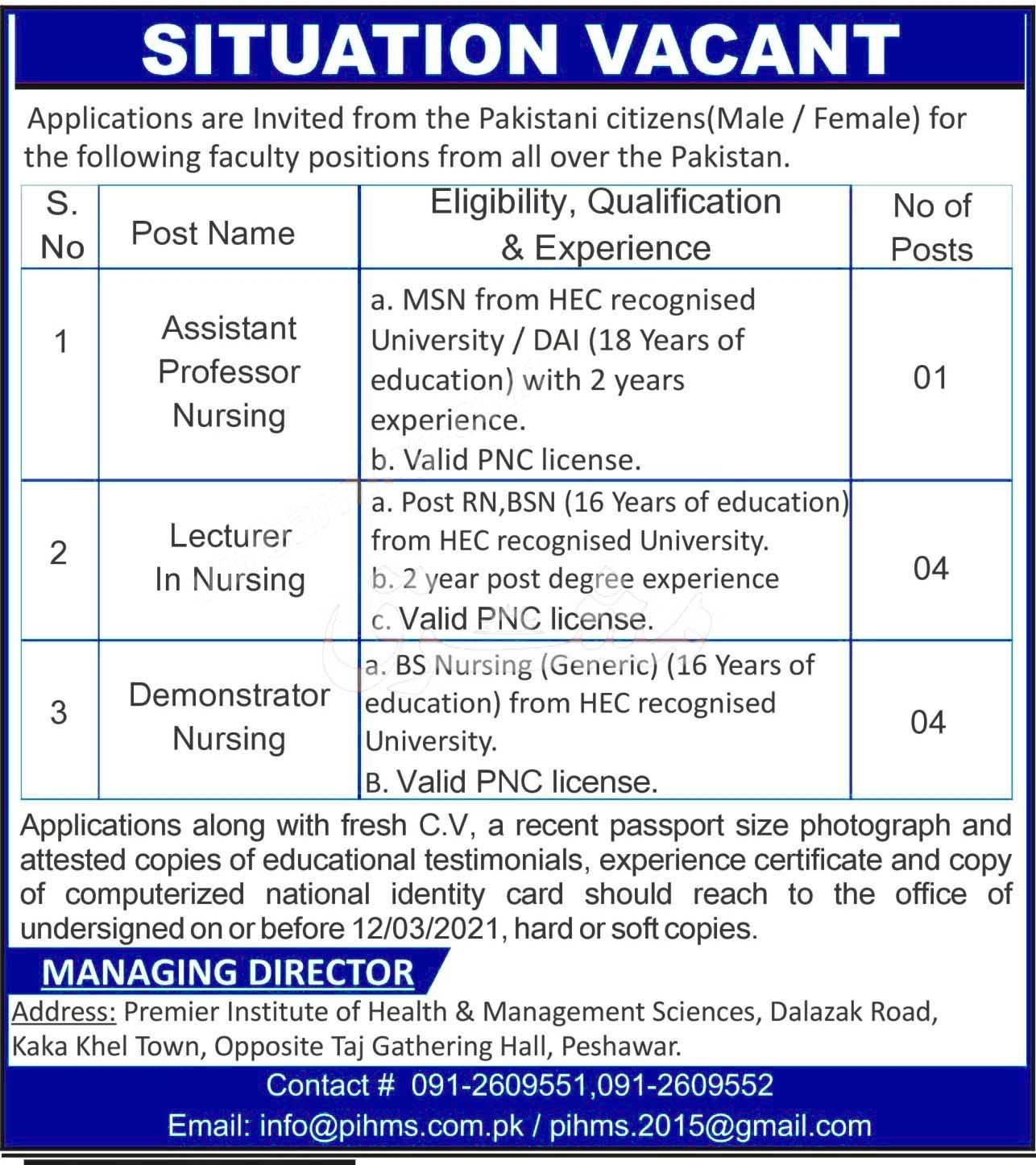 Premier Institute of Health & Management Sciences Peshawar Lecturers Demonstrators &