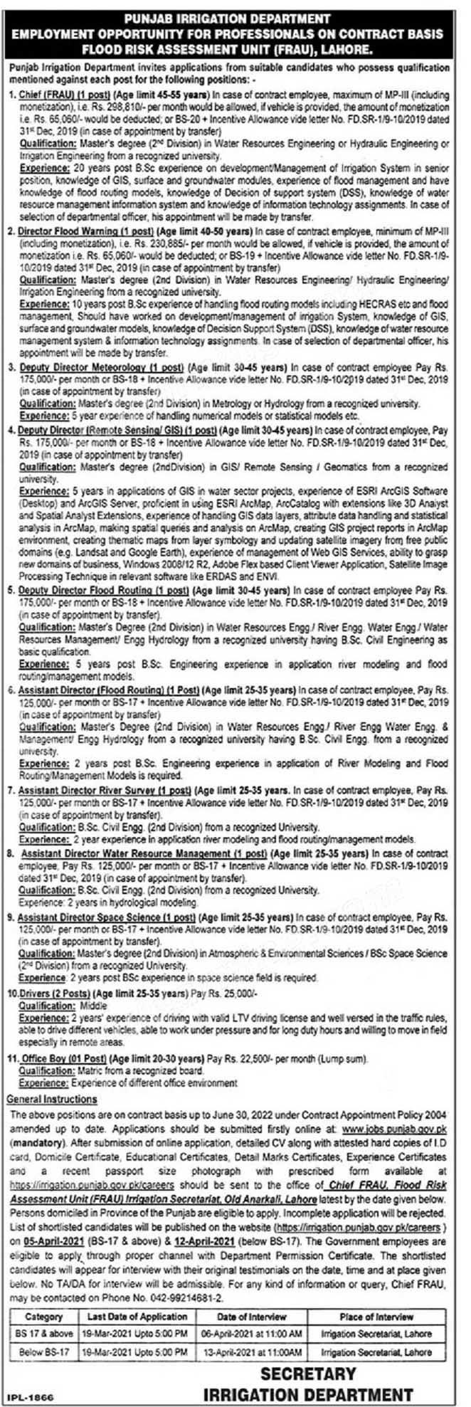 Punjab Irrigation Department Flood Risk Assessment Unit (FRAU) Lahore Directors, Dri